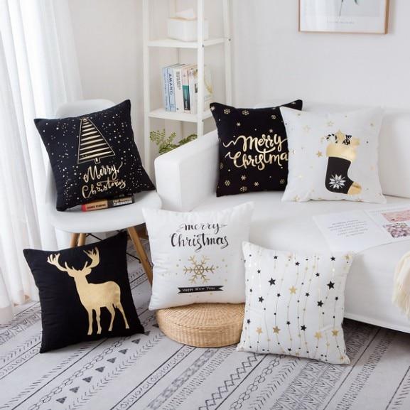 Us 3 14 37 Off Bronzing Christmas Decorative Pillowcase Gold Printed Cushion Pillows Home Decor Sofa Throw Almofadas 17 In