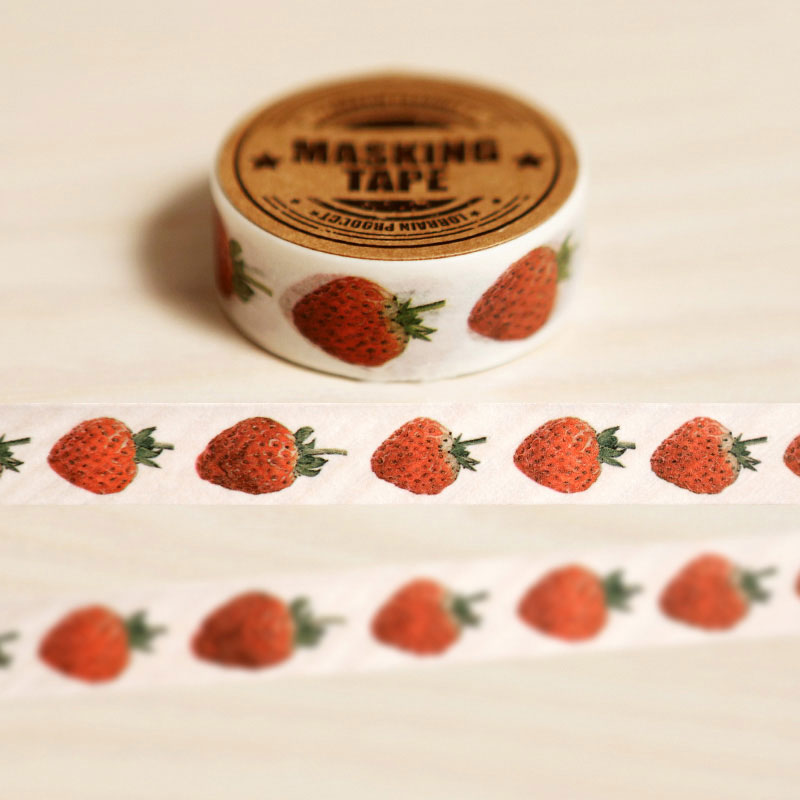 15mm X 8m lovely Strawberry Fruit DIY Washi tapes / Masking Tape / Decorative Adhesive Tapes / School Supplies Fashion diary