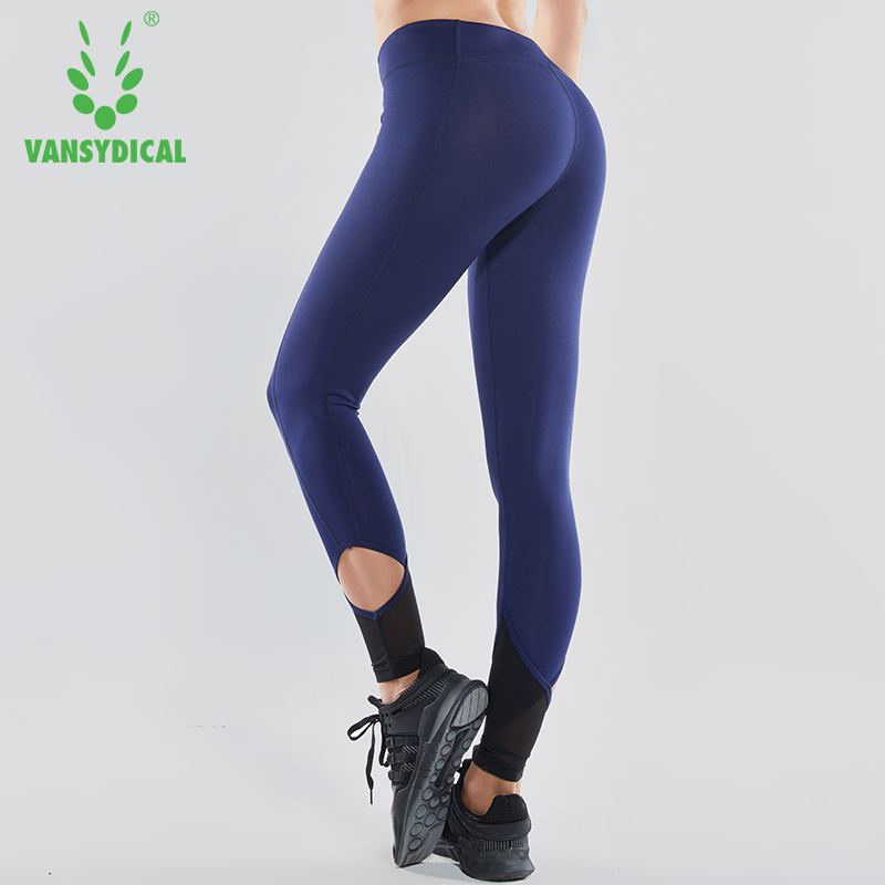 Vansydical 2018 Women Mesh Patchwork Yoga Pants Compression Running Tights Hollow Fitness Leggings Elastic Waist Sports Trousers