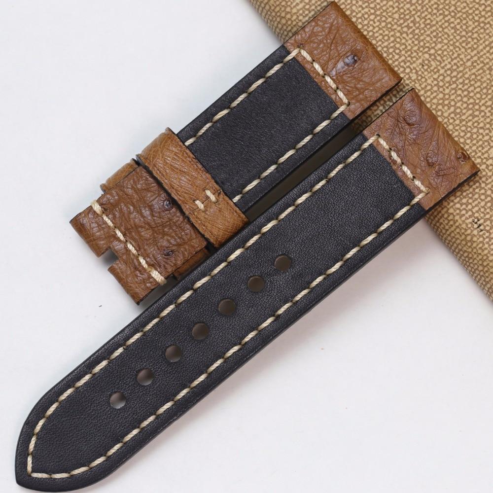 Pesno Africa Echtes Straußenleder Uhrenarmband Schwarz Braun Grau - Uhrenzubehör - Foto 6