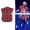 2017 TOP NUEVO JUSTIN BIEBER Escocia Rojo raya rejilla lateral abierto cremallera de Moda Casual Camisa de Algodón Camisas de Los Hombres de hiphop TEMOR DE DIOS