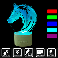 USB Lampara Holiday Gift Horse head LED Light Bluetooth Speaker 3D Music Nightlight Asmosphere Lamp IY803796