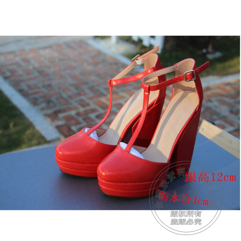 ФОТО Solid Wedding Shoes Square Heel Pantshoes Plateau Genuine Leather Wedding Shoes For Women Joker T Strap Round Toe