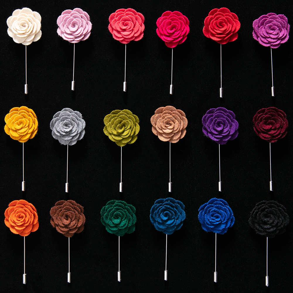 HOT Fatti A Mano Spilla Fiore Spille Solido Panno di Velluto Del Fiore Del Tessuto Risvolto X Accessori 18 Colori Spilli Per La Camicia Del Collare Degli Uomini vestito delle
