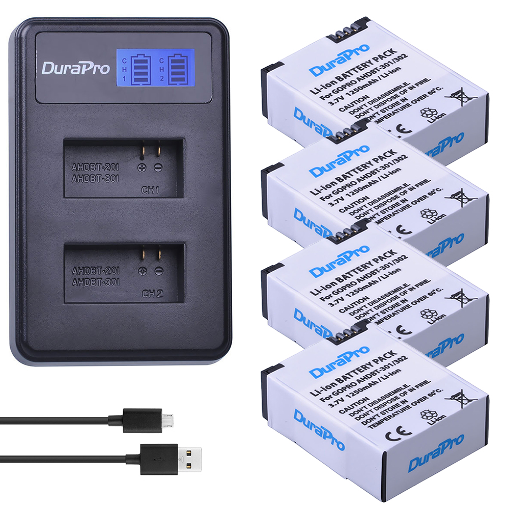 цена на 4pc 1250mAh AHDBT-301 AHDBT-302 Rechargeable Battery + LCD USB Charger for AHDBT 301 302 Gopro Hero 3 Hero 3+ Go Pro Hero 3