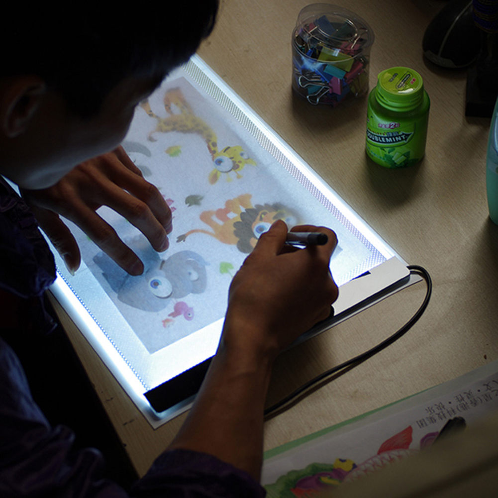 Craft light box for tracing - Ezlife 1 Set A4 Tracing Drawing Board Led Artist Thin Art Stencil Board Light Box Tracing Drawing Board New Wx0080