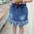 Дети новорожденных девочек джинсовые кисточка юбка мода пачка пышная юбка 2-6y малыша девушки летняя одежда