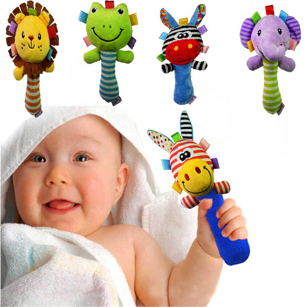 Children's handbell for 0-3 years old baby toys cartoon animal Baby stick Maternal and child supplies Toddler toys Drop Shipping