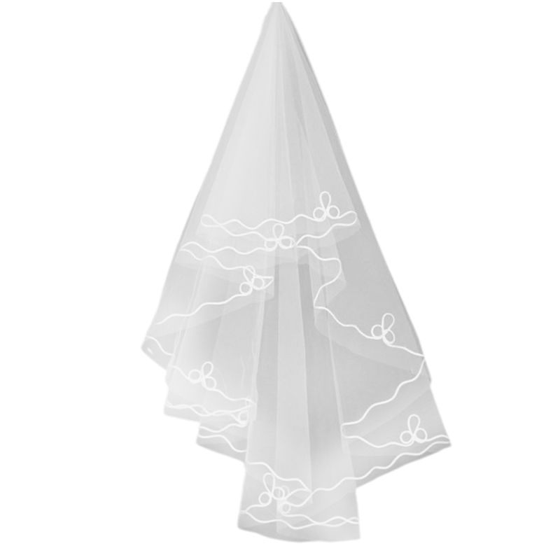 Minimalist One-Layer Women Long White Wedding Veil Water-Soluble Mesh Yarn Wavy Ribbon Trim Cathedral Bridal Veil Without Comb