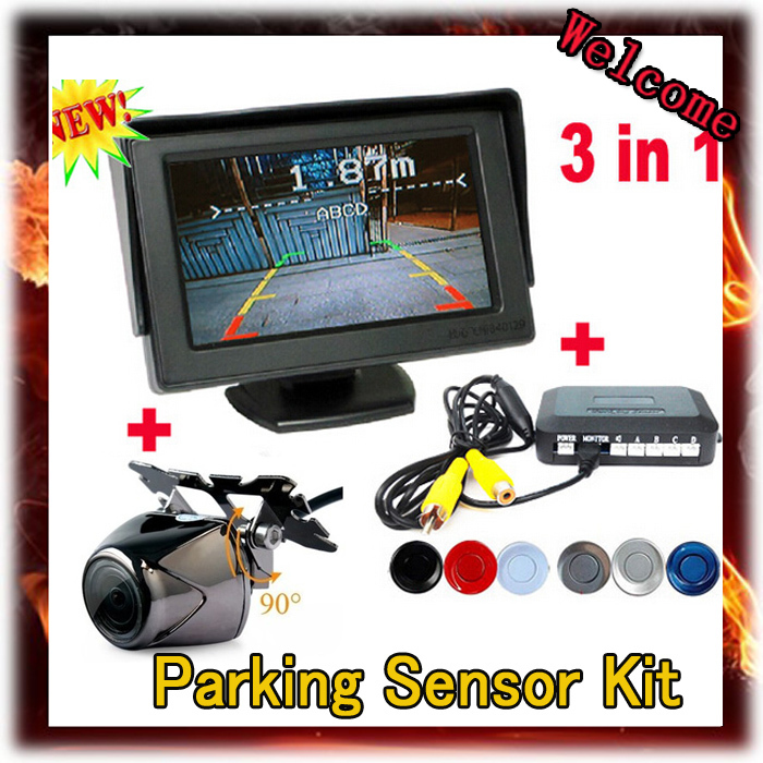 ФОТО 2015 Limited Wire Car Camera New In Car with Parking Reverse Radar System + Auto Rearview Mirror Monitor Sensor,free Shipping