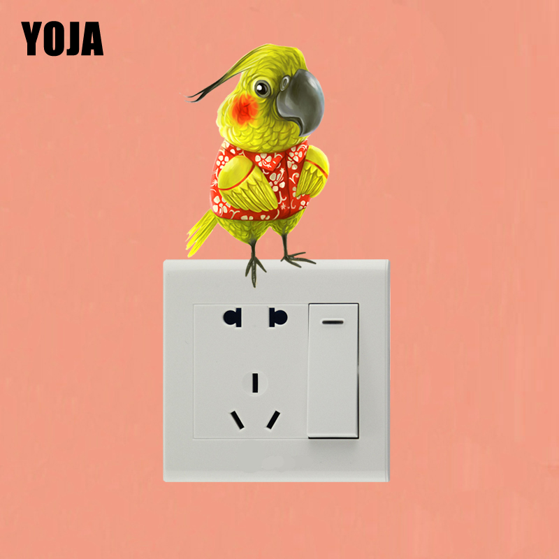 YOJA Lovely Parrot Switch Sticker Personalized Living Room Bedroom Wall High Quality Decor 10SS0122