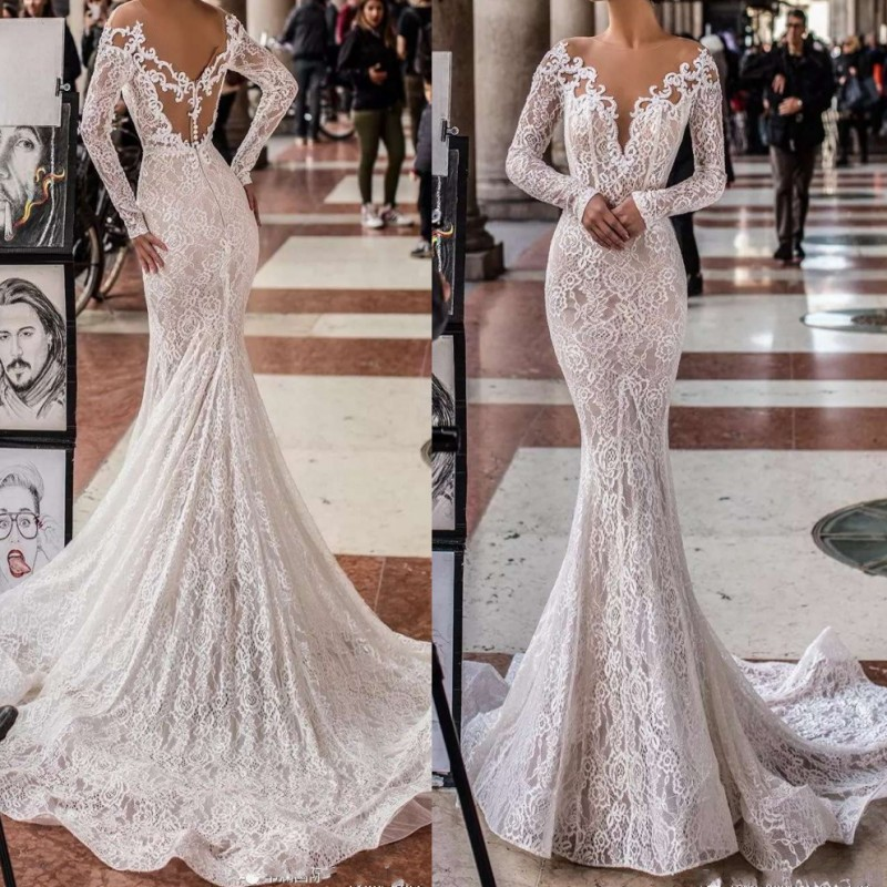 Newest Spring Summer Lace Mermaid Wedding Dress 2019 Lace