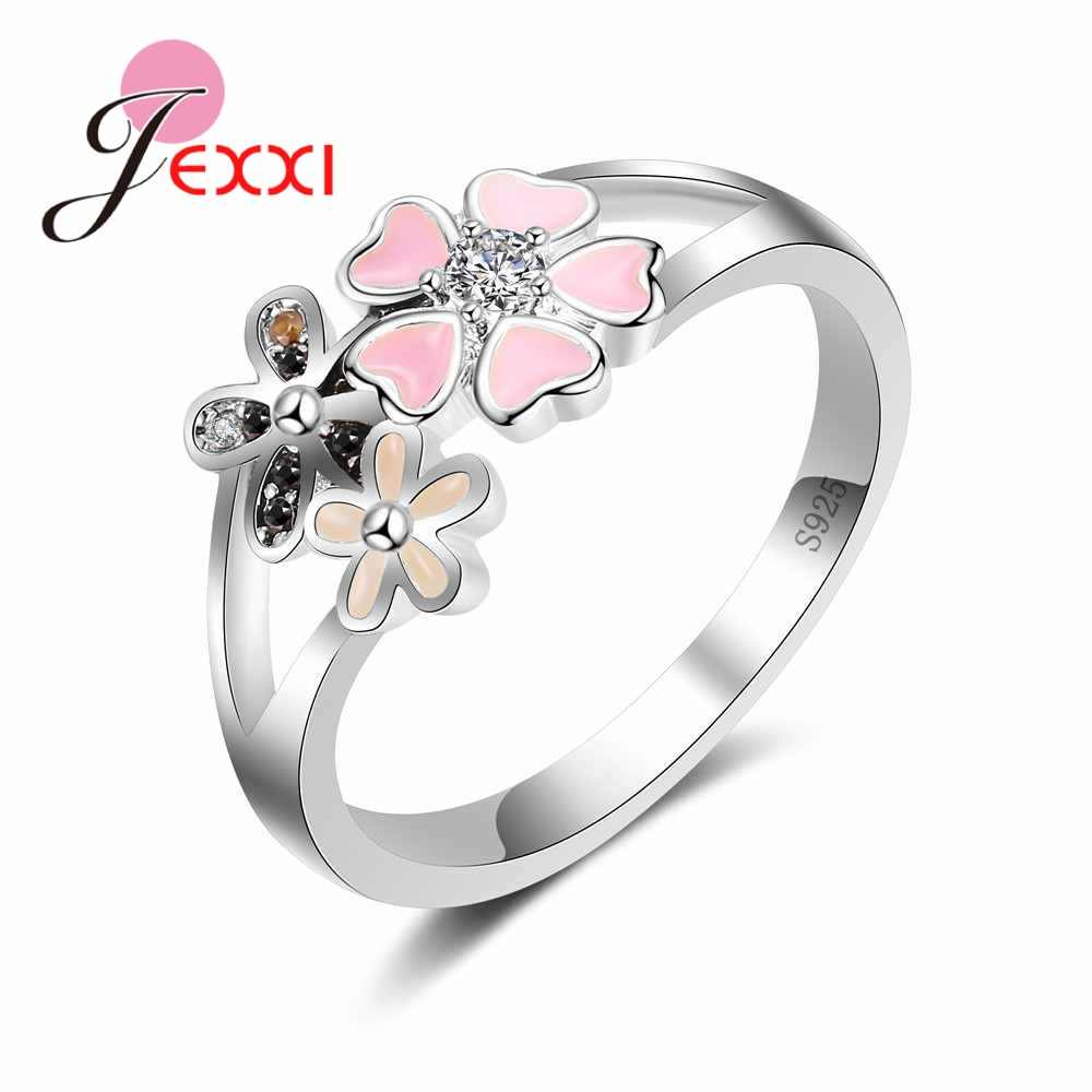 925 Sterling Silver Ring Anniversary Party Jewelry Flower With Heart Shape CZ Stones Pink Enamel Design Women Cute Gift