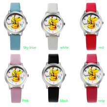 Free Shipping Top Fashion Brand Pocket Monster Pikachu Quartz Watch Children Girl Women Leather Watch Wristwatch Cut Lovely