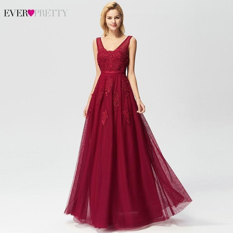 Ever Pretty Lace Evening Dresses Long A-Line V-Neck Appliques Formal Dresses Elegant Summer Party Gowns EP07723BD Robe De Soiree