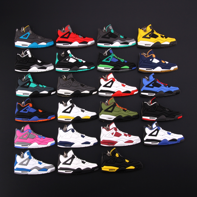 New Mini Jordan 4 Keychain Shoe Men Wome Kids Key Ring Gift Basketball Sneaker Key Chain Key Holder Porte Clef