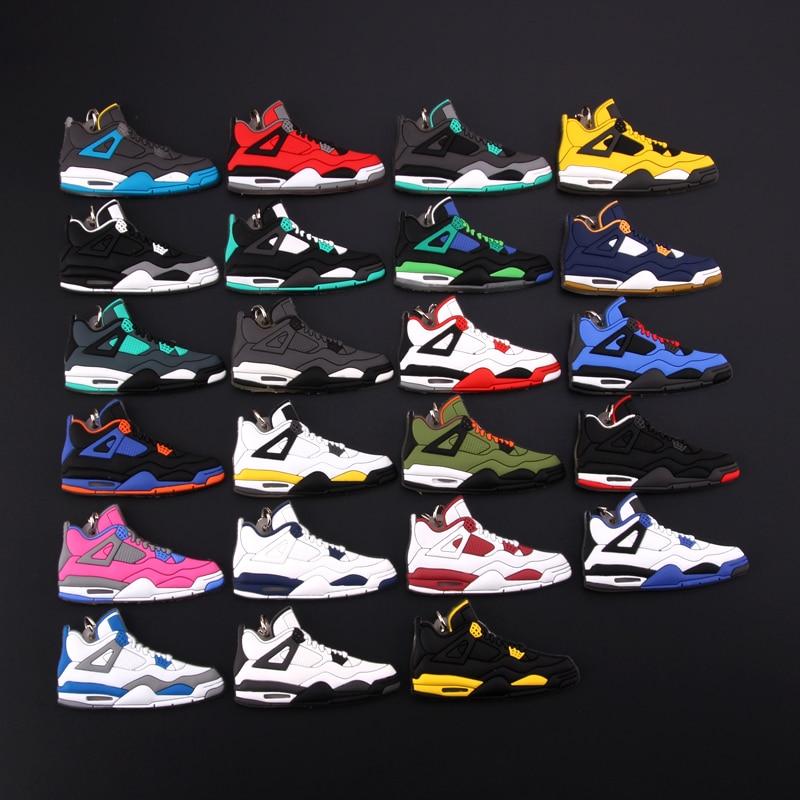 New Mini Jordan 4 Keychain Shoe Men Wome Kids Key Ring Gift Basketball Sneaker Key Chain Key Holder Porte Clef