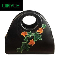 2018 Original Designer Brand Unique Genuine Cow Leather Women's handbag Vintage Flowers Hobos Totes crossbody shoulder bags