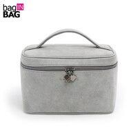New 2017 Grey Cosmetic Box PU Leather Makeup Bag Travel Cosmetics Storage Box 20 13 5