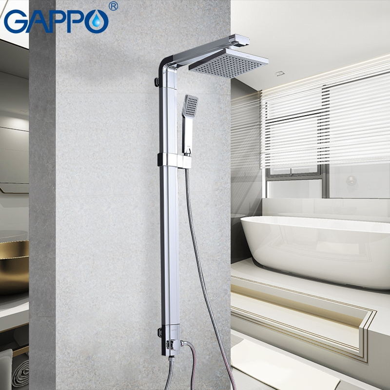 GAPPO Rain Shower System Bathroom Shower Faucets Set Bath Tap Wall Mounted Faucet Mixer Wall  Waterfall ABS Panel Massage
