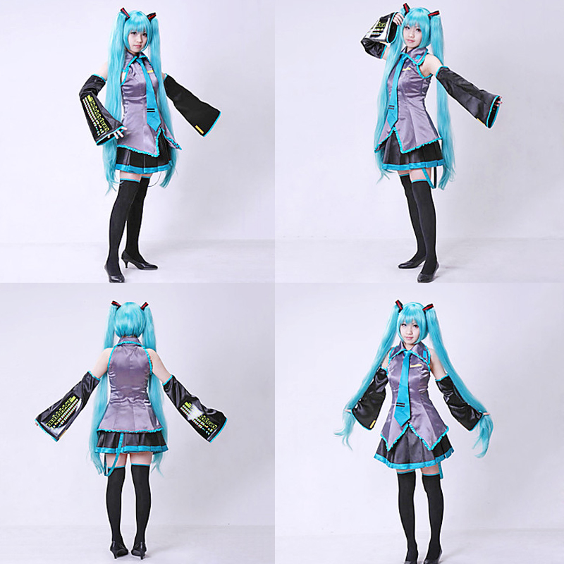 2016 New Vocaloid Miku Hatsune Cosplay Costume kit Japanese Mid Dress 10 pcs set hatsune miku cosplay with Wig