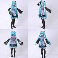 2016 New Vocaloid Miku Hatsune Cosplay Costume Kit Japanese Mid Dress 10 Pcs Set Hatsune Miku