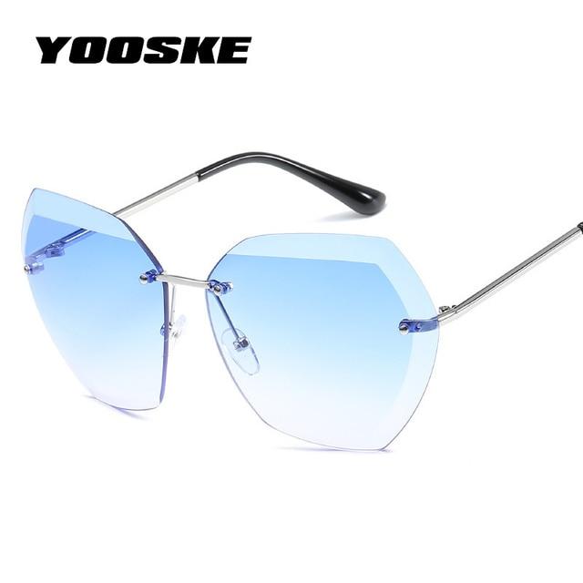 73c420c82c YOOSKE Oversized Sunglasses for Women Retro Diamond Cutting Lens Sun glasses  Ladies Marine Film Eyewear Frameless Metal Glasses