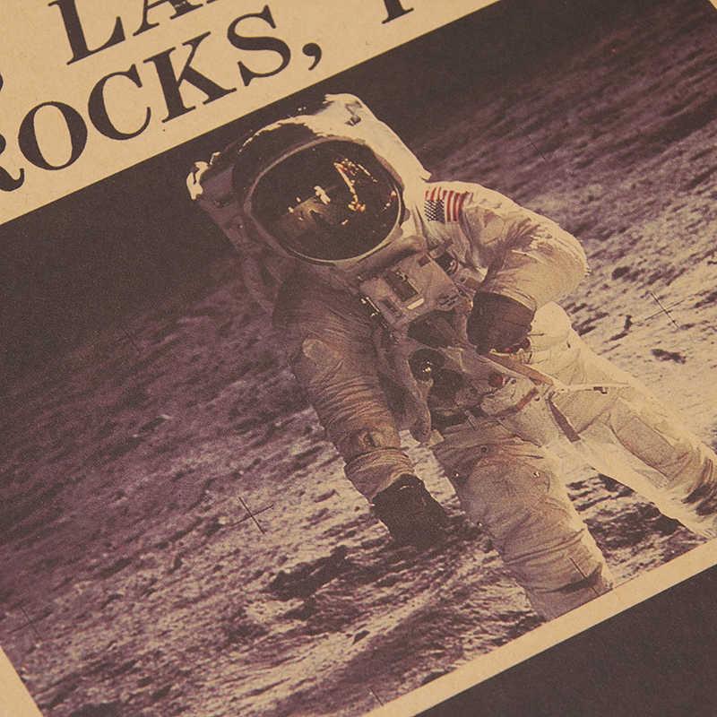 DLKKLB Apollo 11 księżyc lądowania New York Times w stylu Vintage plakat papier pakowy Retro dekoracja pokoju dla dzieci 51X35.5cm naklejki ścienne