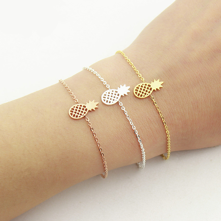 Rose Gold Color Charm Pineapple Bracelets For Women Boho Jewelry Stainless Steel Friendship Bracelet Femme Bridesmaid Gifts BFF