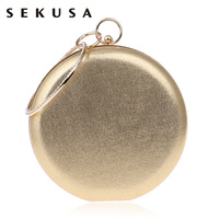 Round Shaped Women Evening Bags Diamonds Simple Red Blue Silver Black Gold Mixed Day Clutches Chain