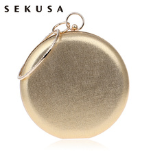 SEKUSA Round Shaped Women Evening Bags Diamonds Simple Red blue silver black gold Mixed Day Clutches Chain Shoulder Bags