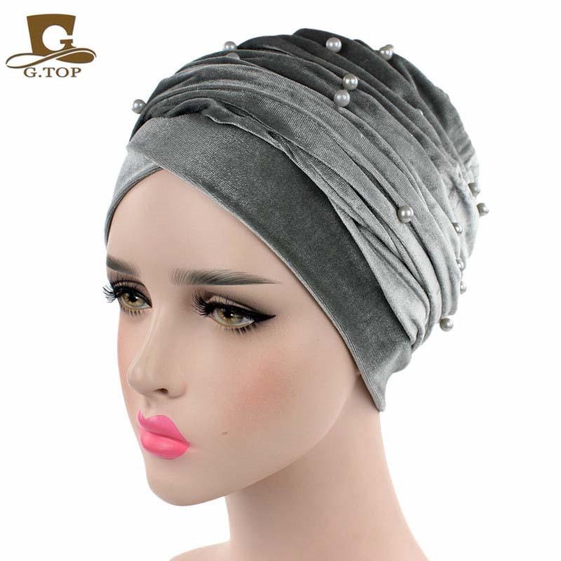 New luxury beaded pearled velvet turban long head scarf headwrap women muslim hijab Bandanas Hair Accessories 29