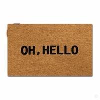 Rubber Doormat For Entrance Door Floor Mat Oh, Hello Designed Non slip Doormat 18 by 30 Inch Non woven Fabric