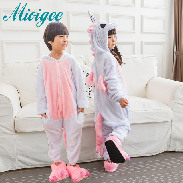 Mioigee Children Unisex Unicorn Animal Kigurumi Pajamas Costume Winter  Flannel Keep Warm Pajamas Kids Sleepwear for kid boy girl 0db5bd95a