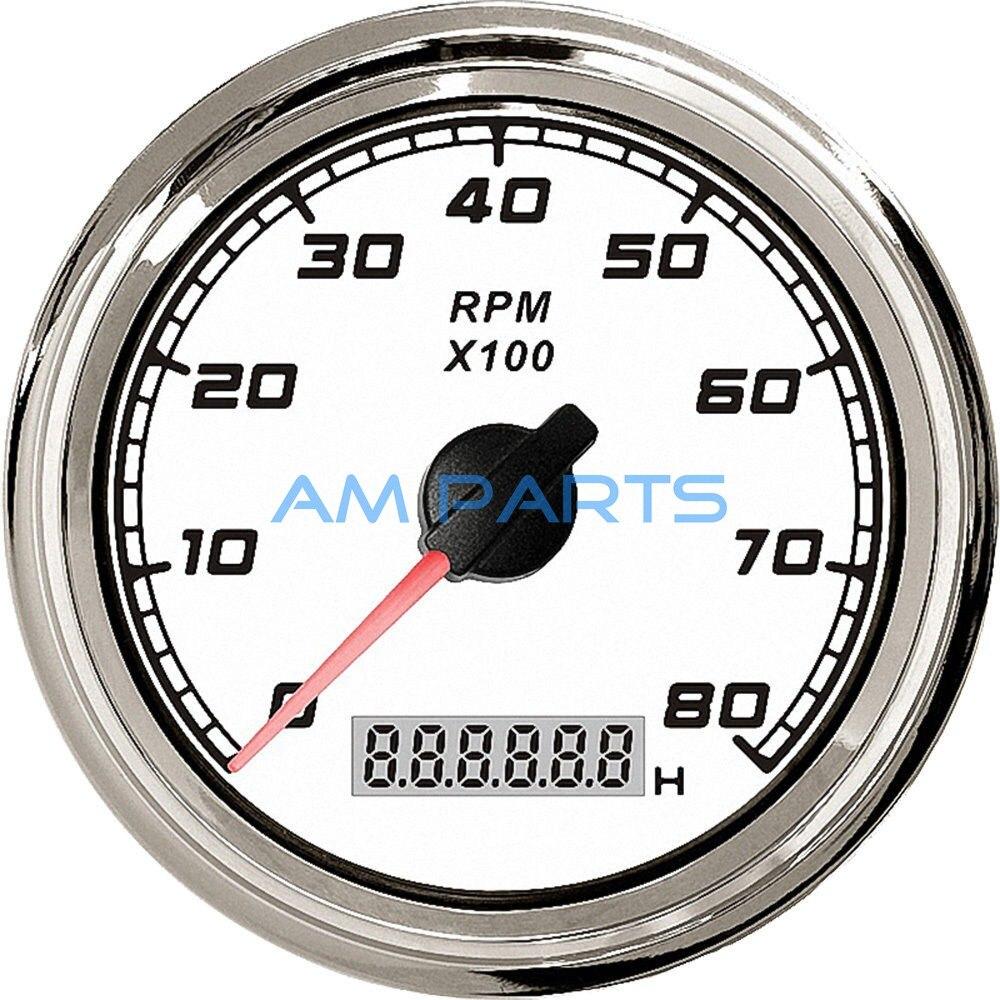ФОТО KUS Boat Tachometer Gauge Marine/Truck/RV Offroad Diesel Motor Engine TACHO Gauge W/ LCD Hourmeter 12/24V 8000 RPM