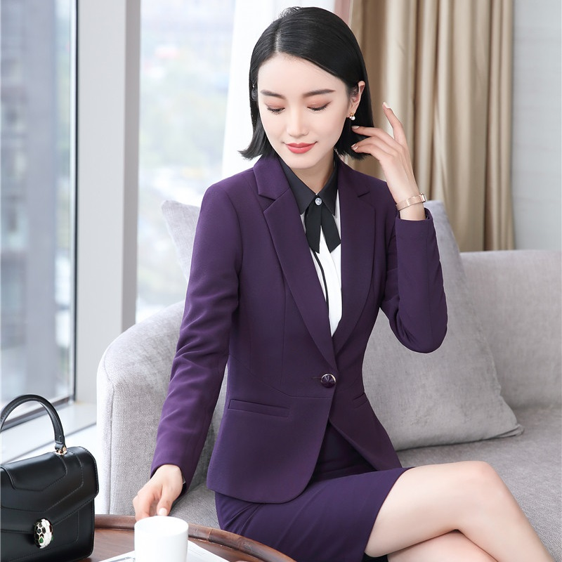 Formal Uniform Styles Blazers Jackets Coat For Women Outwear Female Tops Office Ladies Business Clothes Plus Size Elegant Purple