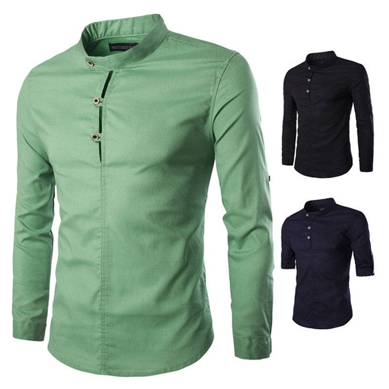 Hot Style Mens Business Shirt Stand-up Collar Long Sleeve No Ironing Fashionable Pure Color Shirt Men Casual Shirts Men's Clothing