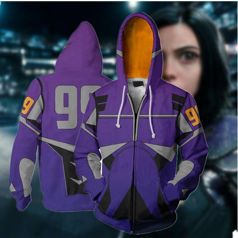 WXCTEAM Alita: Battle Angel Printed Zipper Hoodie Unisex Hooded Purple Sweatshirt Unisex Dropping Ship