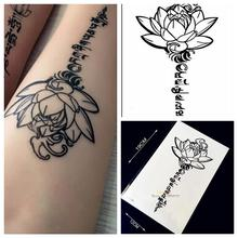 1PC 3D Buddha Lotus Designs Fake Waterproof Tattoo Sticker H36 Letter Sanskrit Tibetan Word Tattoos Men Body Leg Arm Black Tatoo
