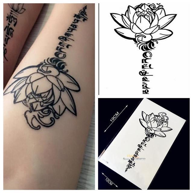 1PC 3D Buddha Lotus Designs Fake Waterproof Tattoo Sticker H36 Letter Sanskrit Tibetan Word Tattoos Men Body Leg Arm Black Tatoo