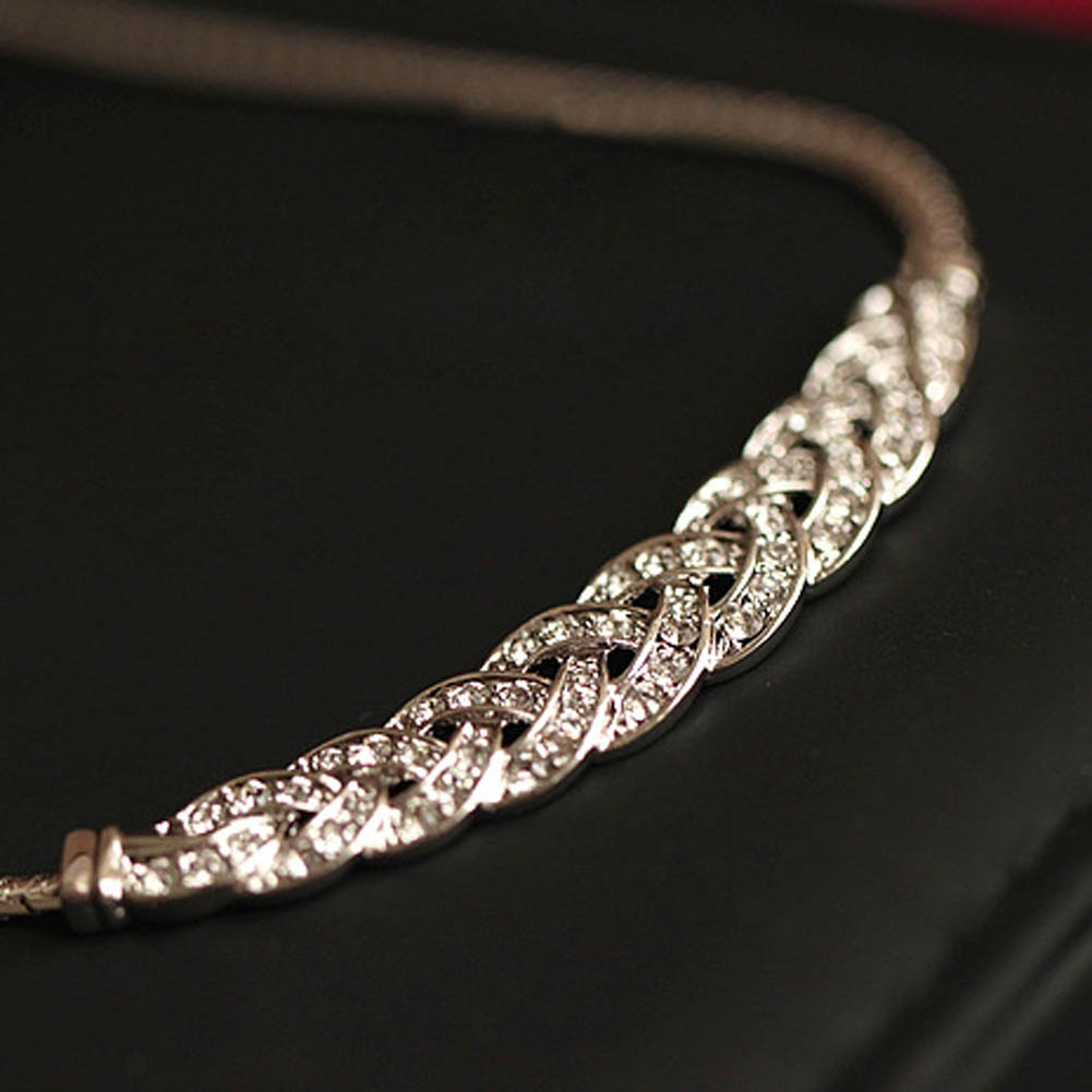 Charming Vintage Noble Wheat Ear Full Rhinestone Short Necklace Choker Necklace Chunky Crystal Vintage Jewelry fashion