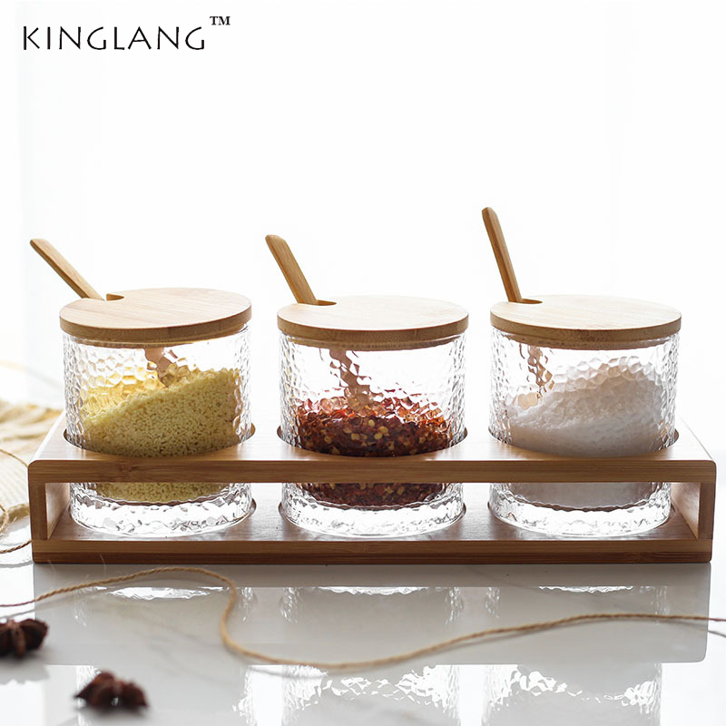 US $39.99 20% OFF|Japanese Style 3 pieces Set Glass Seasoning Pot Set  Household Kitchen Supplies Salt Box Set Wood Base-in Bottles,Jars & Boxes  from ...