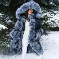 FURSARCAR Winter Real Fur Parka Women Natural Silver Fox Fur Liling Inside Hood Fashion Luxury Black Fur Jacket Parkas