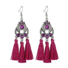 LOVBEAFAS Bohemian Crystal Tassel Earrings Black White Blue Red Pink Silk Fabric Long Drop Tassel Earrings For Women Jewelry(China)