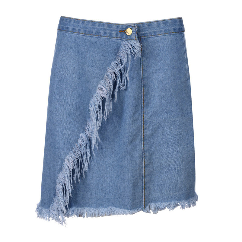 Fashion 2018 Summer style skirts womens Casual cowboy Mini High Waist Short Sexy Pockets Blue Denim Skirts Femme Saia Y04#N (5)