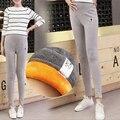 2016 leggings De Veludo engrossar calças de inverno roupa de maternidade para as mulheres grávidas de cintura alta suspender calças gravidez M607
