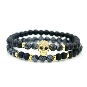 2Pcs/Set 6 mm Alabaster Stone Beaded Strand Skull Skeleton Bracelet For Men Women Jewelry