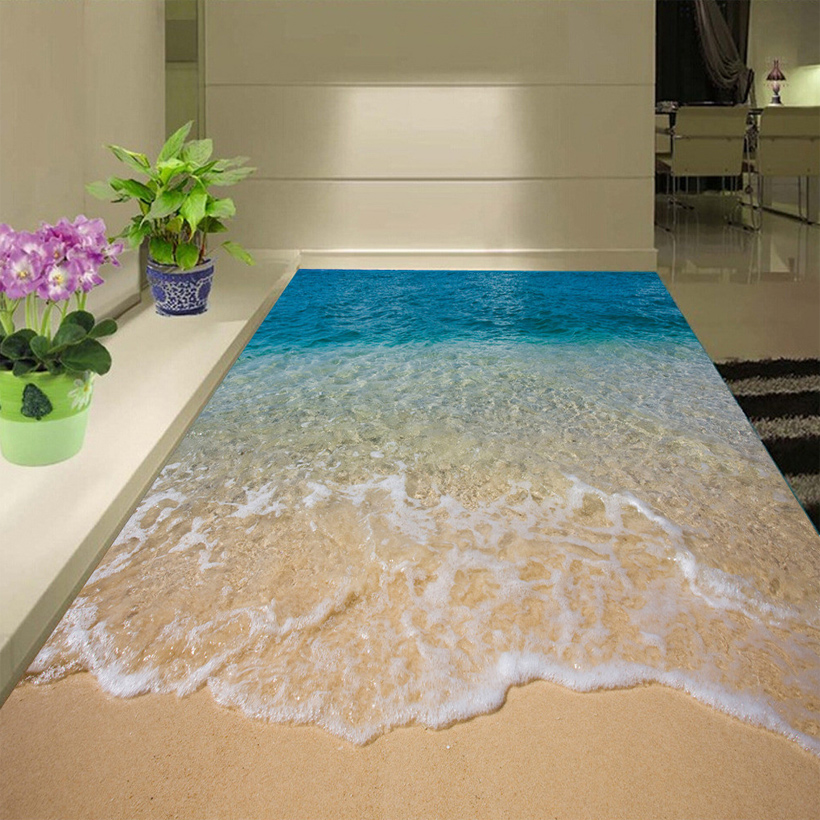 Custom 3D Floor Sticker Beach Sea Water Living Room Bedroom Bathroom Floor Mural Self-adhesive Vinyl Wallpaper Papel De Parede
