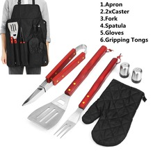 Pratical 1set Outdoor BBQ Barbecue Picnic Tableware Utensil Set shovel fork clip apron gloves Castor Roll