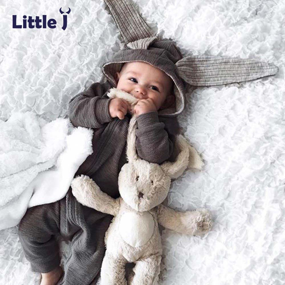 Little J Baby Warm Bunny Ear Rompers Autumn Winter Infant Rabbit Style Jumpsuit Cotton Boys Girls Hare Playsuits Hooded Clothes aile rabbit 2017 ins popular autumn winter children hat rabbit ear style warm plus cashmere woolen fashion cute baby wild 0 3t